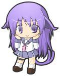 1girl angel_beats! animal_ears bangs blush brown_footwear cat_ears cat_girl cat_tail chibi closed_mouth eyebrows_visible_through_hair forked_tail full_body hair_between_eyes hands_on_own_cheeks hands_on_own_face hands_up irie_(angel_beats!) kemonomimi_mode loafers long_hair long_sleeves looking_at_viewer neckerchief nekomata pink_neckwear pleated_skirt purple_hair purple_skirt rinechun school_uniform serafuku shirt shoes simple_background skirt smile socks solo standing tail very_long_hair violet_eyes white_background white_legwear white_shirt