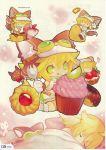 1girl animal_ears blonde_hair chibi crop_top cupcake cyberconnect2_(choujigen_game_neptune) dreaming eating food fork fruit goggles green_eyes hat highres neptune_(series) scan short_hair sleeping solo spork tail