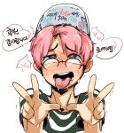 1boy :p ahegao doppel_(pixiv) double_v glasses hat heart heart-shaped_pupils park_jinim_(parkgee) pink_hair real_life shirt solo striped striped_shirt symbol-shaped_pupils tongue tongue_out v