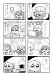 2girls 4koma :d bangs bkub blank_eyes blazer burning closed_eyes comic computer emphasis_lines eyebrows_visible_through_hair greyscale hair_ornament hairclip heart highres holding holding_phone index_finger_raised jacket keyboard kurei_kei laptop monitor monochrome multiple_girls necktie one_eye_closed open_mouth phone programming_live_broadcast pronama-chan shirt short_hair simple_background skirt smile speech_bubble speed_lines sweatdrop table talking translation_request twintails two-tone_background typing undone_necktie
