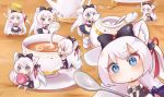 1girl :< :3 absurdres animal_ears azur_lane black_bow blue_eyes bow cat_hair_ornament chibi clone cup drooling eating eyebrows_visible_through_hair eyes_visible_through_hair flying_sweatdrops food food_on_face food_on_head hair_bow hair_ornament hair_ribbon hammann_(azur_lane) heart heart-shaped_pupils highres long_hair looking_at_viewer macaron minigirl musical_note nut_megu object_on_head open_mouth pantyhose pouring remodel_(azur_lane) ribbon saucer sitting sparkle sparkling_eyes spoon sugar_cube symbol-shaped_pupils teacup teapot triangle_mouth white_hair white_legwear