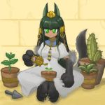 1girl alternate_costume animal_ears anubis_(monster_girl_encyclopedia) artist_request barefoot closed_mouth commentary_request commission dress egyptian fewer_digits green_eyes green_hair hair_ornament holding indian_style long_dress monster_girl monster_girl_encyclopedia necktie paws plant pot potted_plant sand sitting smile snake_hair_ornament solo tail watering watering_can white_dress wolf_ears wolf_tail