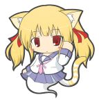 1girl angel_beats! animal_ears bangs blonde_hair blush_stickers cat_ears cat_girl cat_tail character_request chibi closed_mouth commentary_request emil_chronicle_online eyebrows_visible_through_hair full_body ghost_tail hair_ribbon hand_up long_hair long_sleeves looking_at_viewer pleated_skirt purple_skirt red_eyes red_ribbon ribbon rinechun school_uniform serafuku shirt sidelocks simple_background skirt solo tail twintails white_background white_shirt yusa_(angel_beats!)