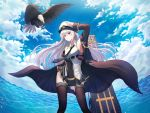1girl absurdres aiguillette armpits azur_lane bangs bare_shoulders belt bird black_coat black_legwear black_neckwear blue_sky blush breasts buckle buttons clouds coat eagle enterprise_(azur_lane) eyebrows_visible_through_hair flight_deck floating_hair hair_between_eyes hat head_tilt highres kimsw0522 large_breasts long_hair long_sleeves looking_at_viewer military military_uniform miniskirt necktie ocean peaked_cap rigging salute shirt sidelocks silver_hair skirt skirt_hold sky sleeveless sleeveless_shirt sleeves_folded_up smile solo standing tareme thigh-highs thigh_strap thighs uniform very_long_hair violet_eyes water water_drop wind wind_lift
