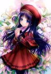 1girl absurdres beret black_hair black_legwear blush capelet card_captor_sakura closed_mouth cowboy_shot daidouji_tomoyo dress eyebrows_visible_through_hair floral_background flower from_side goto_p hands_clasped hat highres lily_(flower) long_hair long_sleeves own_hands_together red_dress red_hat scan smile solo very_long_hair violet_eyes