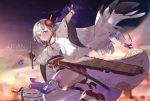 1girl aiguillette aircraft airplane arm_above_head artist_name azur_lane bangs bent_knees black_gloves blue_eyes blunt_bangs blush breasts closed_mouth clouds cowboy_shot erect_nipples evening flight_deck floating floating_hair gloves hair_ornament highres holding japanese_clothes jumping katana kimono large_breasts lm520lm520 long_hair looking_at_viewer mole mole_under_eye obi outstretched_arm partly_fingerless_gloves rigging rudder_shoes sash sheath sheathed shoukaku_(azur_lane) sidelocks silver_hair smile solo sword tassel thigh-highs thighs very_long_hair weapon wide_sleeves wind wind_lift
