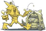 alakazam bummerdude coin commentary creature frown full_body gen_1_pokemon hat holding holding_spoon no_humans pokemon pokemon_(creature) rhydon simple_background sitting throwing throwing_coin top_hat walking white_background
