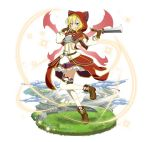 1girl :q animal_hood blonde_hair breastplate brown_footwear brown_gloves character_request faux_figurine fingerless_gloves full_body gloves green_eyes hair_between_eyes holding holding_weapon hood layered_skirt miniskirt red_hood red_wings shoes short_hair skirt smile solo standing standing_on_one_leg sword_art_online thigh-highs tongue tongue_out weapon white_legwear wings