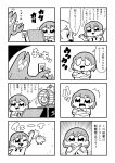 2girls 4koma :< :d bangs battery bkub claws closed_eyes comic computer creature crossed_arms cutting eyebrows_visible_through_hair greyscale hair_ornament hairclip hamster hamster_wheel high_five highres kurei_kei laptop monochrome multiple_girls necktie one_eye_closed open_mouth plug programming_live_broadcast pronama-chan shirt short_hair simple_background smile speech_bubble sweatdrop talking translation_request two-tone_background typing undone_necktie x_arms