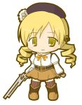 1girl bangs beret black_hat black_legwear blonde_hair blush boots brown_footwear brown_skirt chibi closed_mouth commentary_request eyebrows_visible_through_hair full_body gun hair_ornament hat holding holding_gun holding_weapon juliet_sleeves long_sleeves low_twintails magical_musket mahou_shoujo_madoka_magica puffy_sleeves rinechun ringlets shirt simple_background skirt smile solo standing striped striped_legwear thigh-highs tomoe_mami twintails vertical-striped_legwear vertical_stripes weapon white_background white_shirt yellow_eyes