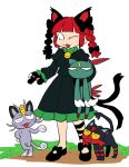 1girl :3 alola_form alolan_meowth animal_ears black_bow black_footwear bow cat_ears cat_paws crossover fang furukawa_(yomawari) gen_2_pokemon gen_7_pokemon grass hair_bow hand_on_hip holding juliet_sleeves litten long_sleeves looking_at_another no_nose one_eye_closed open_mouth paws pokemon pokemon_(creature) puffy_sleeves sneasel standing touhou white_background