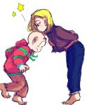 1boy 1girl aida_kaiko android_18 bald barefoot black_eyes blonde_hair blush couple dragon_ball dragonball_z full_body height_difference hetero jacket kiss kuririn leaning_forward looking_down pants short_hair simple_background standing star surprised sweater white_background