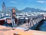 1girl bag bird boat brown_hair casual cellphone day denim hand_in_pocket handbag high_heels holding holding_phone jeans long_hair looking_to_the_side marina original outdoors pants phone ripped_jeans sakeharasu seagull shirt sky solo standing t-shirt watch watch watercraft