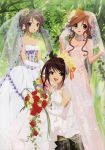 3girls aratani_tomoe asahina_mikuru bouquet bridal_veil bride brown_hair dress elbow_gloves flower gloves hair_flower hair_ornament highres lace lace-trimmed_gloves lipstick makeup megami multiple_girls nagato_yuki pink_dress pink_gloves pink_wedding_dress red_flower red_rose rose scan see-through short_hair sitting standing strapless strapless_dress suzumiya_haruhi suzumiya_haruhi_no_yuuutsu translation_request tree veil wedding_dress white_dress white_gloves