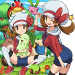 1girl animal apricorn brown_eyes brown_hair bush chikorita flower food fruit gap gen_2_pokemon grass hat holding holding_animal hoppip kotone_(pokemon) ledyba looking_at_viewer mareep medium_hair natu on_ground one_eye_closed open_mouth overalls poke_ball pokemoa pokemon pokemon_(creature) pokemon_(game) pokemon_hgss red_shirt sentret shirt shorts smile suspender_shorts suspenders thigh-highs twintails white_legwear zettai_ryouiki
