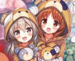 2girls :d akabane_(zebrasmise) animal_costume bandage bandaid bangs bear_costume blurry blurry_background boko_(girls_und_panzer) brown_eyes brown_hair commentary_request depth_of_field eyebrows_visible_through_hair girls_und_panzer holding holding_stuffed_animal light_brown_eyes light_brown_hair long_hair looking_at_viewer multiple_girls nishizumi_miho open_mouth shimada_arisu short_hair side-by-side smile standing stuffed_animal stuffed_toy teddy_bear upper_body