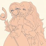 2girls blush cape circlet dress fire_emblem fire_emblem:_kakusei fire_emblem:_monshou_no_nazo fire_emblem_heroes gloves hairband headband long_hair mamkute maria_(fire_emblem) midriff monochrome multiple_girls navel nono_(fire_emblem) open_mouth pointy_ears ribbon short_hair smile tnmrdgr