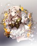 1girl animal animal_ears animal_on_arm bangs bare_shoulders blonde_hair braid breasts crown dress floral_background flower full_body grey_eyes hair_flower hair_ornament legs_up long_hair looking_at_viewer medium_breasts mimosa_(flower) mini_crown original rabbit rabbit_ears ribbon shoes solo tareme wrist_ribbon yuzuyomogi