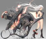 1girl arm_at_side ass bangs bare_shoulders beetarp blue_eyes blush breasts corruption dripping escort_water_hime extra_eyes eyebrows_visible_through_hair floatation_devices floating_hair from_side gradient gradient_background hair_between_eyes hand_up high_heels kantai_collection large_breasts long_hair looking_at_viewer machinery mid-stride rigging shinkaisei-kan shiny shiny_skin sidelocks smile thighs walking white_hair
