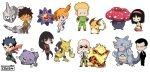 2016 3boys 5girls alakazam aqua_eyes arcanine bald bangs bikini black_eyes black_hair blonde_hair blunt_bangs brown_eyes cibia closed_eyes commentary creature crossed_arms erika_(pokemon) facial_hair gen_1_pokemon gym_leader highres holding holding_spoon japanese_clothes kasumi_(pokemon) katsura_(pokemon) kimono kyou_(pokemon) long_hair long_sleeves matis_(pokemon) medium_hair multiple_boys multiple_girls mustache natsume_(pokemon) onix orange_hair pokemon pokemon_(creature) ponytail raichu rhydon sakaki_(pokemon) seiza signature simple_background sitting spiky_hair standing starmie sunglasses swimsuit takeshi_(pokemon) tied_hair vileplume weezing white_background