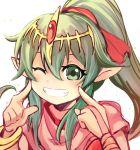 1girl blush chiki circlet dress fire_emblem fire_emblem:_monshou_no_nazo fire_emblem_heroes green_eyes green_hair hair_ornament highres long_hair mamkute nakabayashi_zun one_eye_closed pointy_ears ponytail solo tiara