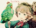 1girl :d animal animal_on_hand backpack bag bangs bird bird_on_hand blush bow brown_background brown_hair character_name collared_shirt commentary_request copyright_name crown eyebrows_visible_through_hair gomennasai granblue_fantasy green_eyes green_jacket harvin jacket long_sleeves mini_crown mouth_hold open_mouth parrot pointy_ears red_bow shirt short_hair sierokarte smile solo upper_teeth white_shirt wide_sleeves