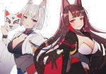 2girls aiguillette akagi_(azur_lane) animal_ears azur_lane bangs black_hair black_legwear blue_eyes blunt_bangs blush breasts brown_hair choker cleavage collar commentary_request confetti eyeshadow floating_hair fox_ears fox_mask gloves hair_ornament half-closed_eyes hanato_(seonoaiko) holding holding_mask japanese_clothes kaga_(azur_lane) large_breasts long_hair looking_at_viewer makeup mask multiple_girls parted_lips partly_fingerless_gloves petals pleated_skirt reaching_out red_eyes red_skirt rigging short_hair simple_background skirt smile thigh-highs thighs white_background white_hair wide_sleeves work_in_progress wrist_straps