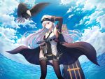 1girl aiguillette armpits azur_lane bangs bare_shoulders belt bird black_coat black_legwear black_neckwear blue_sky blush breasts buckle buttons clouds coat eagle enterprise_(azur_lane) eyebrows_visible_through_hair flight_deck floating_hair hair_between_eyes hat head_tilt highres kimsw0522 large_breasts long_hair long_sleeves looking_at_viewer military military_uniform miniskirt necktie ocean peaked_cap rigging salute shirt sidelocks silver_hair skirt skirt_hold sky sleeveless sleeveless_shirt sleeves_folded_up smile solo standing tareme thigh-highs thigh_strap thighs uniform very_long_hair violet_eyes water water_drop wind wind_lift