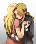 1boy 1girl artist_name black_shirt blonde_hair braid closed_eyes commentary couple dress edward_elric expressionless fingernails fullmetal_alchemist gloves hands_together hetero hug long_hair md5_mismatch shirt simple_background watermark web_address white_background winry_rockbell