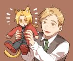 /\/\/\ 2boys :d alphonse_elric animal_ears black_shirt blonde_hair boots braid brothers cat_ears cat_tail coat edward_elric formal frown fullmetal_alchemist happy long_hair long_sleeves looking_at_another looking_away male_focus multiple_boys necktie open_mouth pants red_coat shirt short_hair siblings simple_background smile tail waistcoat white_shirt yellow_eyes