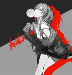 1girl alternate_costume ask_(askzy) bangs blue_eyes breasts bubble_blowing casual character_name chewing_gum clothes_writing coat collarbone eyebrows_visible_through_hair hair_between_eyes hair_ornament leaning_forward limited_palette long_hair looking_at_viewer neon_genesis_evangelion nerv off_shoulder open_mouth partially_colored shirt short_shorts short_sleeves shorts sidelocks small_breasts solo souryuu_asuka_langley thighs two_side_up