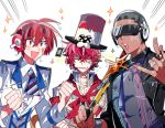 3boys \m/ arsloid bandaid_on_cheek black_jacket clenched_hands cyber_songman dark_skin dark_skinned_male fukase hat head_flag headphones jacket lowres male_focus multiple_boys neon_trim no_pupils red_eyes red_sclera redhead scar shaved_head smile sunglasses sword top_hat vocaloid vy2 vy2_(vocaloid3) weapon wet