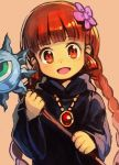 1girl :d bangs black_dress blunt_bangs dress eyebrows_visible_through_hair flower hair_flower hair_ornament hankuri holding jewelry kukuri long_hair long_sleeves looking_at_viewer mahoujin_guruguru necklace open_mouth orange_background red_eyes redhead simple_background smile solo upper_body wide_sleeves
