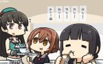 3girls =_= bangs beret black_gloves black_hair black_serafuku blunt_bangs bowl braid brown_hair choukai_(kantai_collection) commentary_request cowboy_shot drinking_straw glasses gloves hair_ornament hair_over_shoulder hairband hamu_koutarou hand_on_own_face hat highres juice_box kantai_collection kitakami_(kantai_collection) long_hair midriff multiple_girls neckerchief pleated_skirt red_eyes red_hairband red_neckwear remodel_(kantai_collection) rimless_eyewear school_uniform serafuku shiratsuyu_(kantai_collection) short_hair single_braid sipping skirt spoon white_skirt