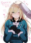 1girl absurdres atago_(kantai_collection) black_gloves blonde_hair blush breasts fur_trim gloves green_eyes highres kantai_collection kayumidome large_breasts long_hair looking_at_viewer one_eye_closed petting pov remodel_(kantai_collection) smile
