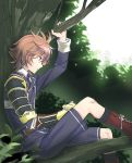 1boy armor boots brown_eyes brown_hair cross-laced_footwear gotou_toushirou in_tree japanese_armor kuronomine lace-up_boots looking_down male_focus military military_uniform necktie profile shorts sitting sode touken_ranbu tree uniform