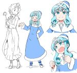 1girl anbe_masahiro ankle_boots bangs blue_dress blue_eyes blue_footwear blue_hair blue_hat boots character_sheet closed_eyes closed_mouth commentary_request cravat dress drill_hair flying_sweatdrops fumi-chan_(nhk) graphite_(medium) hair_ornament haru-chan hat kanji long_sleeves looking_at_another nippon_housou_kyoukai open_mouth short_hair sidelocks simple_background smile solo standing traditional_media twin_drills white_background white_neckwear
