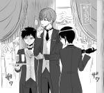 3boys atsushi_toushirou black_gloves bow bowtie cup curtains drinking_glass formal glove_pull gloves ichigo_hitofuri kuronomine male_focus monochrome multiple_boys necktie suit touken_ranbu translation_request tray wine_glass yagen_toushirou