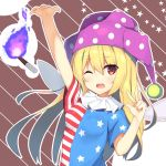 1girl american_flag_dress blonde_hair canine clownpiece dress fairy_wings frilled_shirt_collar frills hat highres jester_cap long_hair megarisu neck_ruff one_eye_closed pink_eyes polka_dot short_dress short_sleeves solo star star_print striped torch touhou very_long_hair wings