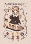 1girl absurdres animal_ears apple argyle argyle_background argyle_dress bag bangs bear_ears black_bow black_dress bow brown_footwear brown_hair center_frills checkerboard_cookie commentary_request cookie dress ear_ribbon english flats food frilled_dress frilled_shirt_collar frilled_sleeves frills fruit full_body fur-trimmed_footwear green_eyes grey_ribbon hair_bow handbag hat highres holding_bag honey_dipper honeycomb_(pattern) lolita_fashion long_sleeves open_mouth original pantyhose pigs_in_a_blanket pom_pom_(clothes) print_dress smile solo sparkle strawberry waving white_bow yellow_legwear yuzhi
