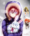 >_< 2girls :d bangs black_jacket black_scrunchie brown_hair closed_eyes closed_mouth clouds cloudy_sky commentary_request creature eyebrows_visible_through_hair fou_(fate/grand_order) fujimaru_ritsuka_(female) fur-trimmed_hood glasses grey_skirt hair_between_eyes hair_ornament hair_scrunchie hood hood_up hooded_jacket jacket kimura_shuuichi long_sleeves mash_kyrielight multiple_girls one_side_up open_mouth outdoors overcast pink_hair pleated_skirt purple_jacket rocket_tent scrunchie signature skirt sky smile snow snowing violet_eyes xd yurucamp
