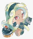 1girl black_cat black_scarf blonde_hair cat crossover dark_skin domino_mask dress earrings falling gravity_daze hairband jewelry kitten_(gravity_daze) leg_warmers leotard long_hair looking_at_viewer mask octoling pointy_ears red_eyes scarf simple_background solo splatoon splatoon_2 strapless strapless_dress taroji tentacle_hair vambraces
