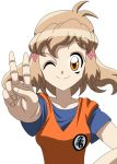 1girl bandai_namco blue_shirt cosplay dougi dragon_ball dragon_ball_super dragonball_z hair_ornament karate_gi light_brown_hair one_eye_closed senki_zesshou_symphogear shirt short_hair solo son_gokuu son_gokuu_(cosplay) tachibana_hibiki_(symphogear) trait_connection v yellow_eyes