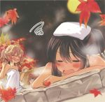 3girls autumn autumn_leaves blonde_hair brown_hair closed_eyes falling_leaves hakurei_reimu headwear_removed highres kirisame_marisa leaf maple_leaf moon multiple_girls naked_towel night night_sky onsen outdoors poprication sky star touhou towel