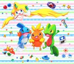 aqua_eyes berry blue_eyes commentary commentary_request creature game_boy_advance gen_1_pokemon gen_3_pokemon handheld_game_console jirachi lai_(pixiv1814979) leppa_berry medal mudkip multicolored multicolored_background nintendo_ds no_humans oran_berry orb pecha_berry pink_eyes pokeblock pokeblock_case pokemon pokemon_(creature) rawst_berry sitrus_berry striped striped_background torchic treecko umbrella water yellow_sclera