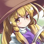 1girl blonde_hair blush expressionless eyebrows_visible_through_hair glint green_background hair_between_eyes hair_ribbon hat high_collar highres hoop long_sleeves looking_at_viewer moriya's_iron_rings moriya_suwako purple_vest ribbon ryogo sidelocks simple_background solo touhou two-tone_background upper_body vest yellow_eyes