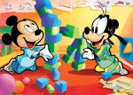 2boys ball black_eyes building_blocks chalk child disney dog dog_ears footwear goofy mickey_mouse mickey_mouse_(series) mouse mouse_ears no_humans open_mouth pants school shirt sweater young younger