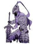 1boy artorias_the_abysswalker belt breastplate capelet commentary cowboy_shot dark_souls faulds fighting_stance full_body glowing glowing_eyes greaves hand_on_hilt helmet holding holding_sword holding_weapon legs_apart materclaws simple_background solo souls_(from_software) sword torn_clothes weapon white_background