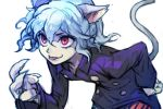 :p androgynous animal_ears bent_over blue_hair cat_ears cat_tail claws hair_between_eyes hankuri hunter_x_hunter jacket leaning_forward long_sleeves neferpitou purple_hair purple_jacket red_eyes short_hair simple_background smile tail tongue tongue_out white_background wing_collar