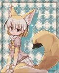 1girl :3 afterimage animal_ears arched_back argyle argyle_background bangs barefoot bent_knees between_legs black_hair blonde_hair blouse blunt_bangs blunt_ends bob_cut breasts commentary_request extra_ears eyebrows_visible_through_hair fennec_(kemono_friends) fox_ears fox_tail frame from_side fur fur_collar green_background grey_eyes hand_between_legs heart highres kemono_friends kolshica looking_at_viewer medium_breasts multicolored_hair neck_ribbon pink_blouse plaid plaid_skirt polka_dot polka_dot_background ribbon short_hair short_sleeves sitting skirt solo streaked_hair tail wariza white_hair white_skirt yellow_neckwear